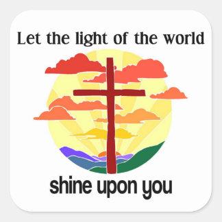Luz del brillo del mundo sobre usted calcomania cuadradas