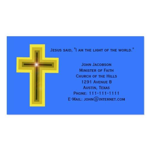 Luz del cristiano de la cruz del mundo tarjetas de visita