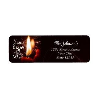 Luz del mundo, vela de Jesús del navidad Etiqueta De Remitente