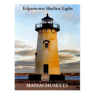 Luz del puerto de Edgartown, postal de Massachuset