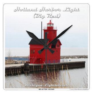 Luz del puerto de Holanda (rojo grande) Reloj Cuadrado