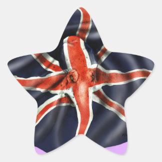 Luz del pulpo de Union Jack Pegatina En Forma De Estrella