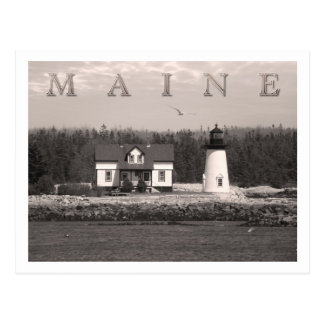 Luz del punto del puerto de la perspectiva, Maine Tarjeta Postal