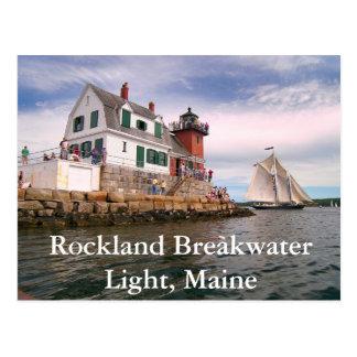 Luz del rompeolas de Rockland, postal de Maine