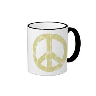 Luz del signo de la paz apenada taza de dos colores