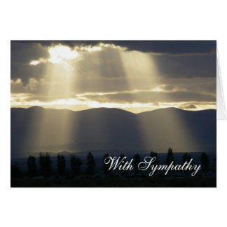Luz del sol a través de la tarjeta de condolencia