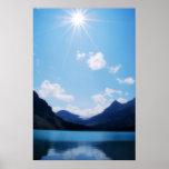 Luz del sol de la montaña A.C. rocosa Poster
