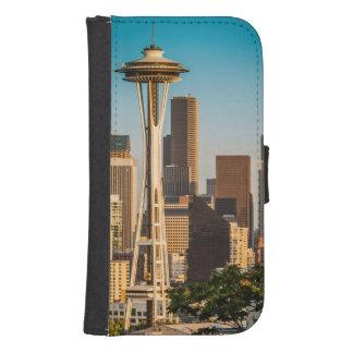 Luz del sol del ajuste en la aguja y la Seattle Fundas Cartera De Galaxy S4