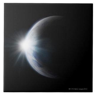 Luz del sol detrás de la luna azulejos