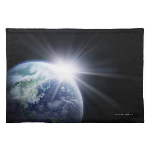Luz del sol detrás de la tierra 4 mantel