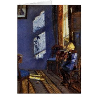 Luz del sol en el arte azul del sitio de Ana Anche Tarjeta