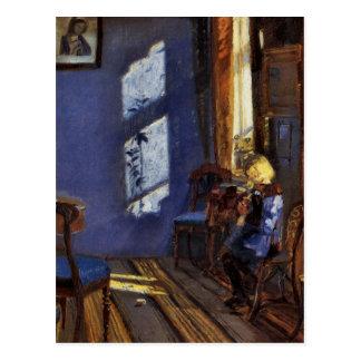 Luz del sol en el arte azul del sitio de Ana Anche Postal