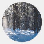 Luz del sol en nieve pegatina redonda