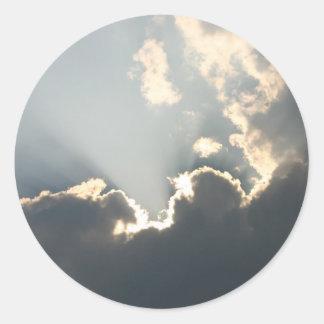 Luz del sol inspiradora pegatina redonda