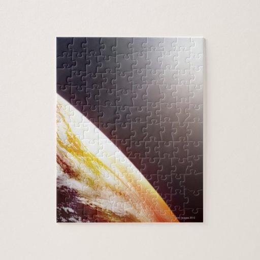 Luz del sol sobre la tierra puzzle con fotos