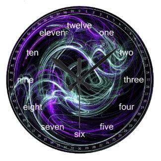 Luz dentro - remolinos abstractos de la violeta y  reloj redondo grande