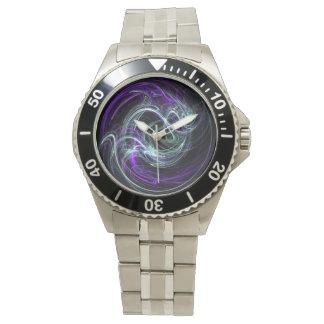Luz dentro - remolinos abstractos de la violeta y relojes