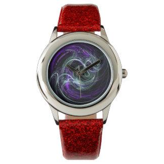Luz dentro - remolinos abstractos de la violeta y relojes de mano