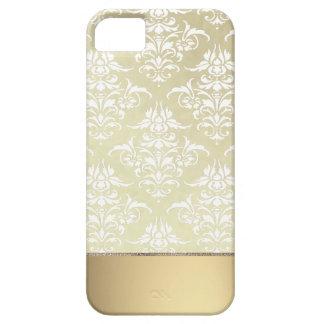 Luz elegante Oro-como modelo del damasco del iPhone 5 Fundas