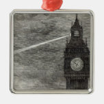 Luz en la torre de reloj, casas del parlamento adorno navideño cuadrado de metal