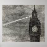 Luz en la torre de reloj, casas del parlamento póster