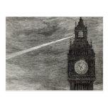 Luz en la torre de reloj, casas del parlamento tarjetas postales