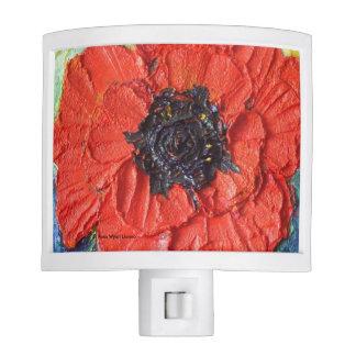 Luz floral de la noche de la amapola roja lámparas de noche