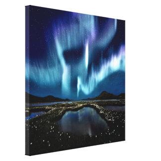 Luz hermosa septentrional de la magia de Noruega B Impresiones En Lona