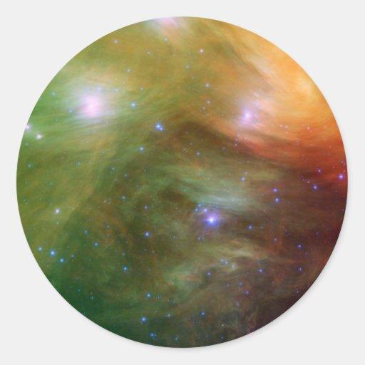 Luz infrarroja de NASAs Pleiadesn Pegatina Redonda
