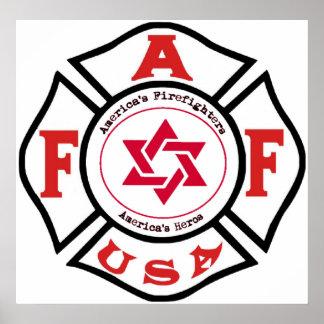 LUZ judía de los bomberos Posters