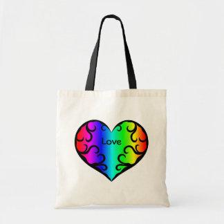 Luz linda del corazón del arco iris del victorian bolsa tela barata