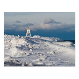 Luz magnífica del puerto de Marais - invierno Tarjeta Postal