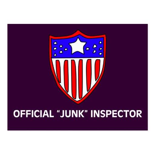 Luz oficial del inspector de los desperdicios de tarjetas postales