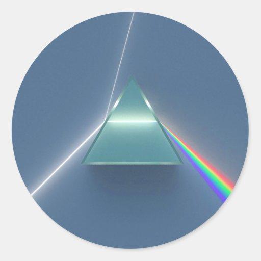 Luz que se refracta y reflectora de la prisma pegatina redonda
