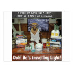 Luz que viaja del fotón del perro del conocimiento postales