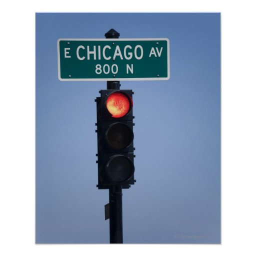 Luz roja, Chicago Illinois, los E.E.U.U. Póster