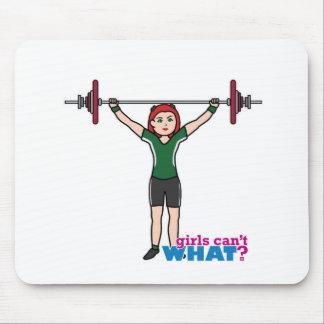 Luz/rojo del chica del Weightlifter Alfombrilla De Ratón