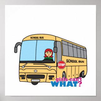 Luz/rojo del conductor del autobús escolar póster