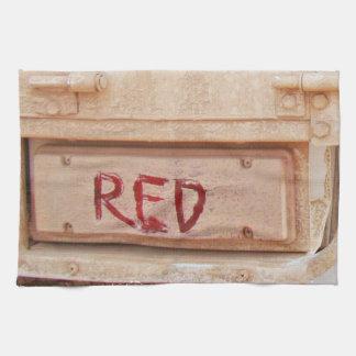 Luz rústica roja de la cola de la puerta posterior toallas de cocina
