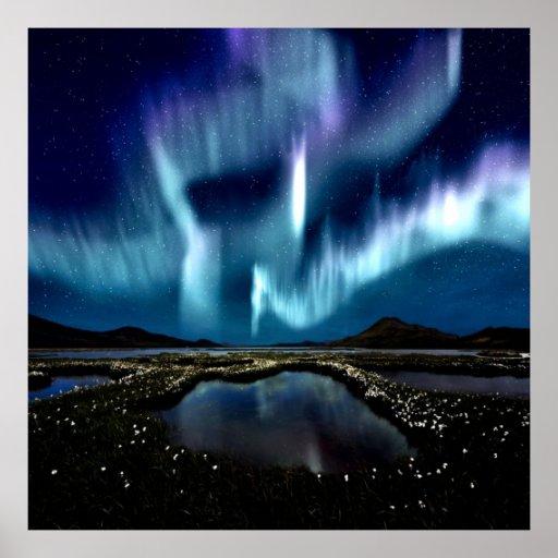 Luz septentrional Borealis Noruega por amor curati Poster