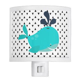 Luz sonriente de la noche de la ballena azul de lámpara de noche