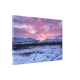 Luz temprana del invierno en la impresión de la impresiones en lona estiradas