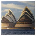 Luz temprana en el teatro de la ópera de Sydney, S Azulejo Cuadrado Grande
