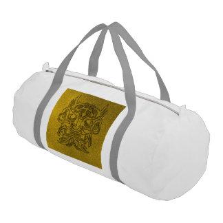 Luz tenue de oro 004 de la máscara tribal viciosa bolsa de deporte