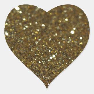Luz tenue pura del oro pegatina en forma de corazón