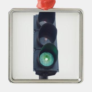 Luz verde adorno navideño cuadrado de metal