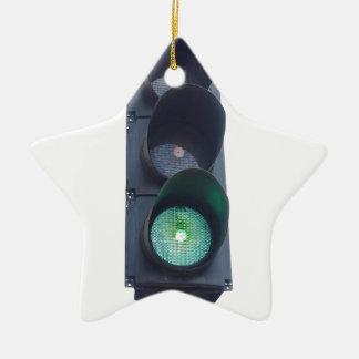 Luz verde adorno navideño de cerámica en forma de estrella