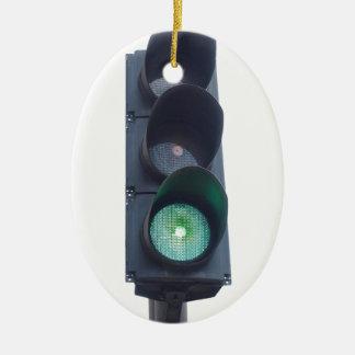 Luz verde adorno navideño ovalado de cerámica