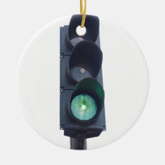 Luz verde adorno navideño redondo de cerámica