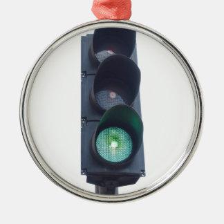 Luz verde adorno navideño redondo de metal